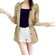Women Button-Tab Epaulets Roll Up Sleeves Drawstring Waist Jacket