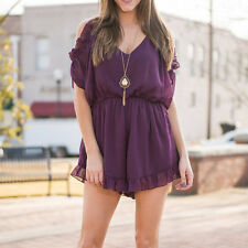 Summer Women Sexy V-neck Shoulder Off Chiffon Short Jumpsuits Rompers Bodysuits
