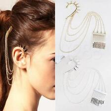 NEW Fashion Punk Gothic Ear Cuff Earrings Chain Hair Cuff Comb BOHO Design