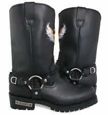 Xelement Mens Black Super Harness Eagle Leather Motorcycle Long Boots