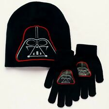DARTH VADER STAR WARS Boys Black Knit Winter Beanie Hat & Gloves Set NWT $18