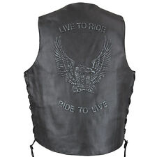 Xelement VE Embossed Live to Ride Eagle Motorcycle Leather Vest with Gun Pocket