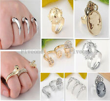Punk Cool Crystal Snake Skull Claw Talon Metal Double Triple Finger Ring Jewelry