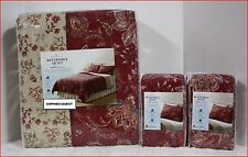 3 / 2 pc - Home Classic SARAH Reversible QUILT & SHAMS - 100% Cotton RED FLORAL