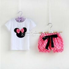 2PCS Minnie Mouse Baby Girl Clothes Outfit - Top & Shorts  Pants Tutu Skirt Set