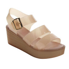 Refresh AC17 Women's Buckle Jelly Ankle Strap Wedge Platform Sandals