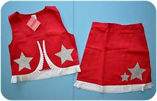 NWT Gymboree Halloween Red COWGIRL Costume/Silver Stars Skirt & Vest/Fringe 3-4