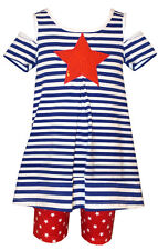 Bonnie Jean Girls Red White Blue Star Patriotic 4th of July Outfit 4 5 6 6X New