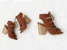 BROWN LACE UP PEEP TOE Booties Sandals Shoes Suede Heels Boots Ankle Boho 5-10