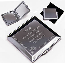 Personalised Square shaped Wedding Compact Mirror Silver Plated Engraved Gift