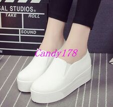 Womens Round Toe High heels Canvas Platform Wedge Sneakers Trainers Casual Shoes