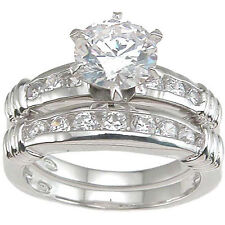 Rhodium Finish Sterling Silver Cubic Zirconia Fashion Engagement Ring Set