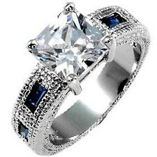 Silver Rhodium Plated Sapphire Blue Cubic Zirconia Cocktail Ring Size 8 9 10 USA