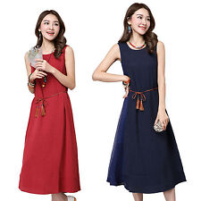 Women Summer Retro Sleeveless Cotton Linen Loose Casual Maxi Dress   Waist Belt