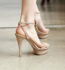 Womens Peep Toe Faux Suede Stiletto High Heel Sandal Ankle Strappy Shoes