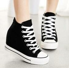 New Womens Canvas Lace Up Hidden Wedge Platform High-Top Sneakers Trainers Shoes