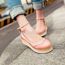 New Womens Ladies Flats Heels Wedge Platform Shoes Sandals Ankle Strap Shoes 005