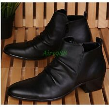 Cool Men's High Top Ankle Boots Pointed Toe Casual Zipper Cuban Heel Shoes A228