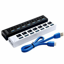 5Gbps 4 7 Ports USB 3.0 Hub with On/Off Switch Splitter Adapter For PC Laptop