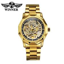 New Men Women Gold Skeleton Dial Automatic Mechanical Stainless Wrist Watch Y8K8