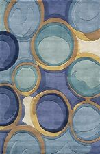 Momeni New Wave 133 Blue Area Rug Modern Contemporary Wool Living Room All Sizes