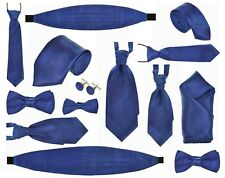 ROYAL BLUE MENS, BOYS BABIES TIES, BOWS CRAVAT SETS CUFFLINKS HANKY & CUMMERBUND