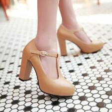 Women Mary Jane T-Strap Round Toe Platform Ankle Block High Heel Shoes