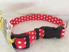 Dog Puppy Designer Collar - Yellow Dog - Made In USA - Red Polka