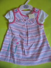 M&S Baby Girl Pink White Blue Stripe 2-Piece Pinafore Dress & Top Outfit Set NEW