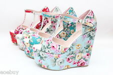 Women's Peep Toe Shoes Wedges Floral Platform Pumps T-Strap Sandals US Size G399