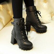 Womens Punk Chunky Heel Platform Lace Up Buckle Studded Ankle Boots Shoes A0026