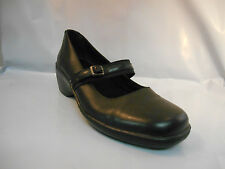 Clarks Black Leather Small Wedge Mary Jane Shoes Women's Size 6 M