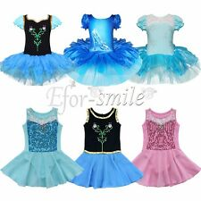 Girls Kids Gymnastics Dress Ballet Tutu Skirt Leotard Party Dance wear Costume