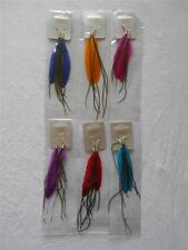 Long dangly feather earrings in 2 shades of blue, hot pink, orange, purple, red