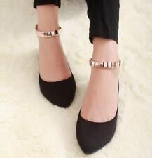 2016 Fashion Womens Pointy Toe Faux Suede Ankle Strap Flats Shoes Sexy Uk SZ A08