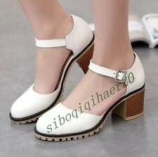 Hot Lolita Women Sweet Round Toe Ankle Buckles Chunky Heels Mary Jane Shoes Size