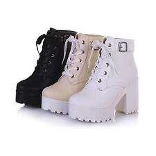Womens High Block Heel Platform Punk Goth Buckle Ankle Knight Boots shoes A888