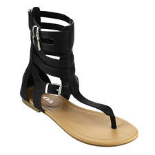 Beston IA56 Women's T-strap Caged Buckled Flat Thong Sandals One Size Bigger