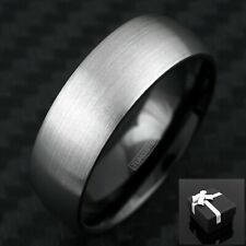 Tungsten Ring Black & Silver Brushed Domed Wedding Band Ring Size 5-13
