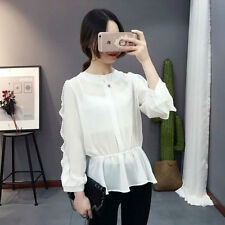 New Womens Ladies Korea Fashion Long Sleeve Chiffon Shirt Blouse Tops