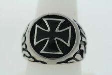 Stainless Steel with Black Enamel 18mm Gothic Cross Band Ring