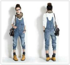 Fashion Womens Washed Casual Jumpsuit Romper Overalls Jeans Frayed Denim Pants