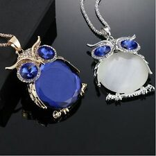 Women Mystic Owl Rhinestone Crystal Pendant Long Sweater Chain Necklace Jewelry