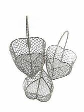 NEW GISELA GRAHAM BROWN METAL HEART SHAPED EGG BASKET - 3 SIZES