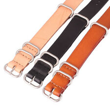 Ring Buckle Solid Color Brown 18mm Real Leather Watch Strap Wristwatch Band