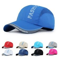 New Women Mens Plain Adjustable Baseball Cap Quick Dry Mesh Blank Curved Sun Hat