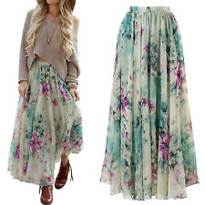 BOHO Hippy Gypsy Women Summer Floral Long Maxi Skirt Beach Sundress Casual Skirt