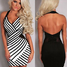 Women Sexy Summer Halter Backless Bodycon Wrap Hip Short Dress Clubwear Sundress