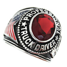Professional Truck Driver Ruby Red Stone Silver Rhodium EP Mens Ring