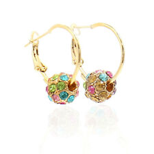 Women Rhinestone Decor Ball Pendant Hoop Earrings Pair